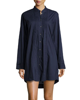Donna Karan Sateen Cotton Sleep Shirt, Ink