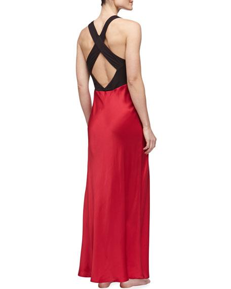 Glamour Silk Long Gown, Cardinal