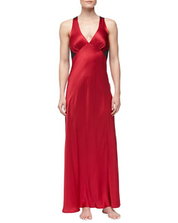 Donna Karan Glamour Silk Long Gown, Cardinal