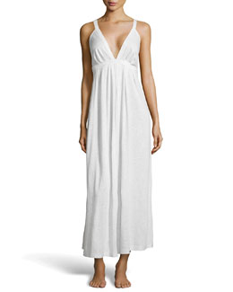 Donna Karan Pima Cotton Long Nightgown, Heather Gray