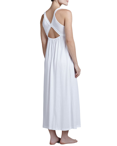Pima Cotton Long Nightgown, White