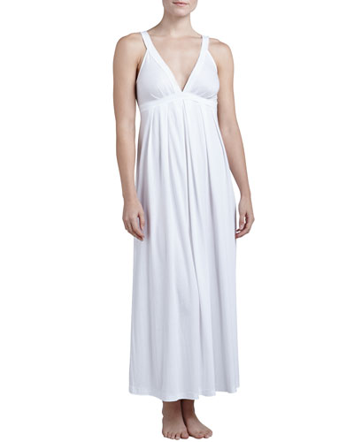 Donna Karan Pima Cotton Long Nightgown, White
