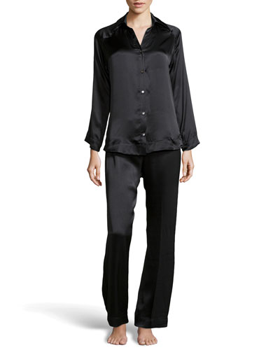 Donna Karan Glamour Silk Long Pajama Set, Black