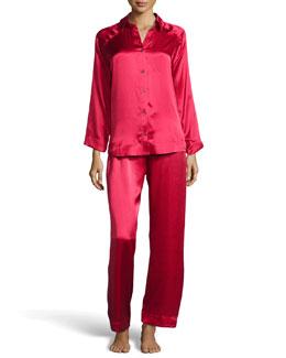 Donna Karan Glamour Silk Long Pajama Set, Cardinal