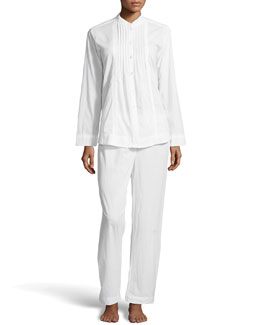 Donna Karan Cotton Batiste Pajama Set, White