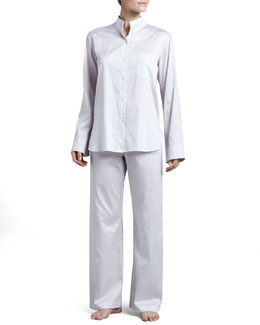 Donna Karan Cotton Pajama Set, Platinum Gray