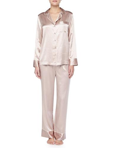 Neiman Marcus Contrast-Trim Silk Pajamas, Brulee/Ivory