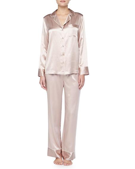 Contrast-Trim Silk Pajamas, Brulee/Ivory
