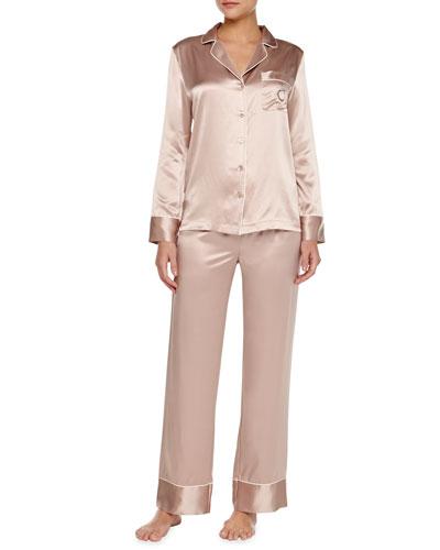 Neiman Marcus Monogrammed Silk Pajamas, Brulee/Ivory