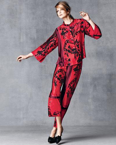 Natori Alexandra Floral-Print Mandarin Pajama Set, Russian Red