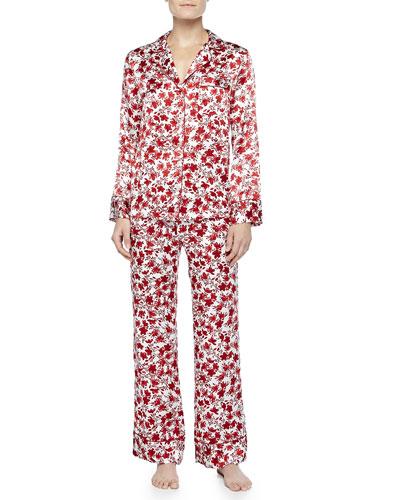 Neiman Marcus Holiday Floral-Print Silk Pajamas, White/Red