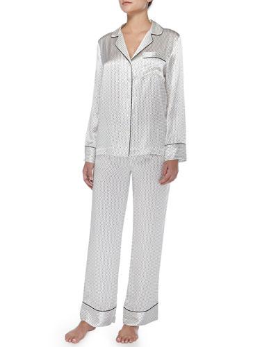 Neiman Marcus Contrast-Trim Polka-Dot Silk Pajamas, Ivory/Black