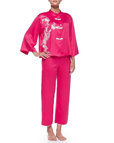 Mandarin Embroidered Silky Charmeuse Pajama Set, Pink