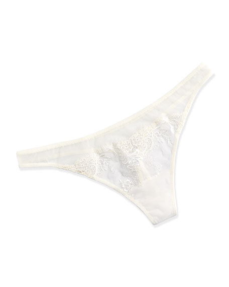 Primula Floral-Lace Thong, Natural