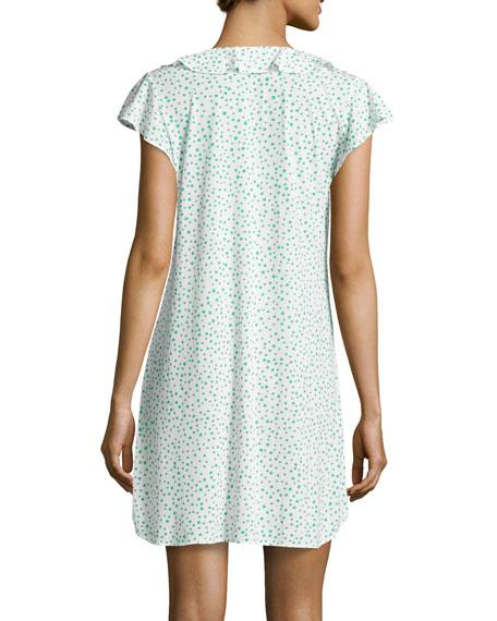 Mosaic Pebble-Print Short Nightgown, Green/White