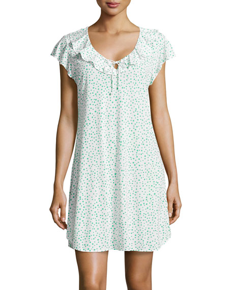 Mosaic Pebble-Print Short Nightgown, Green/White