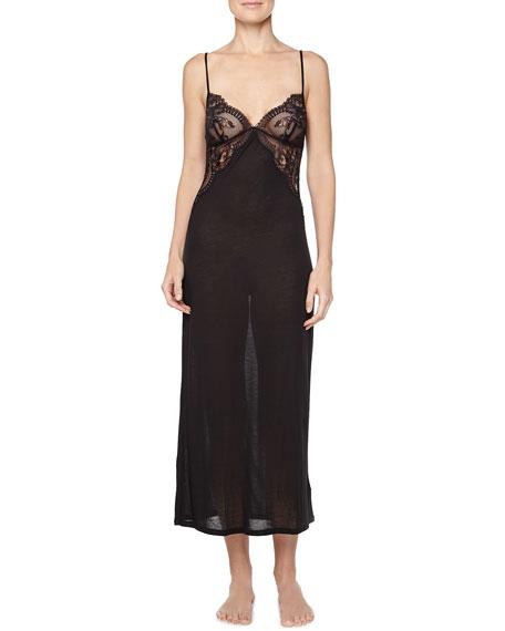 La Perla Silver Begonia Lace-Inset Long Gown, Black