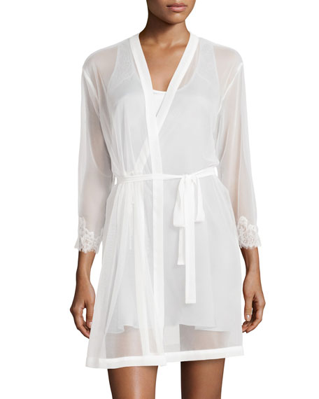 Sweet Seduction Mesh Robe, Pearl