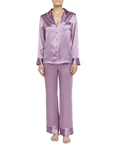 Neiman Marcus Contrast-Trim Silk Pajamas, Purple-Pink/Dove