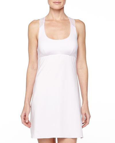 Trenta Lace-Back Short Slip Dress, Petal