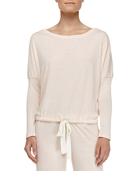 Heather Slouchy Lounge Tee, Light Pink