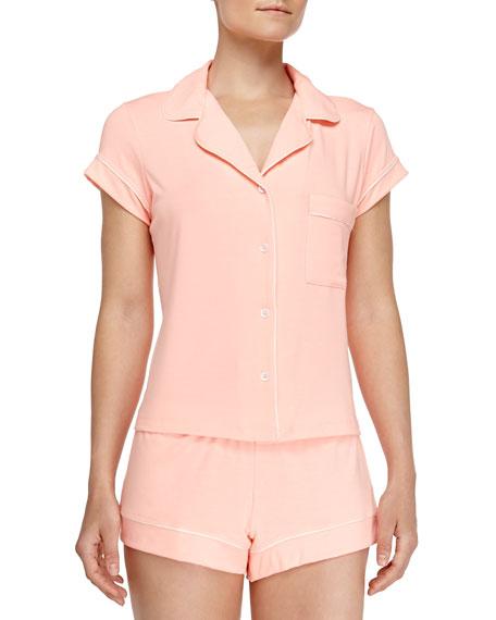 Gisele Boxer-Short Jersey Pajama Set, Orange Sherbet
