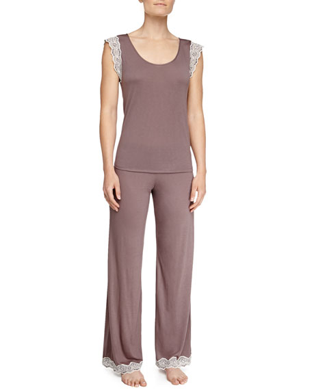 Lady Godiva Contrast-Lace PJ Pants, Shitake