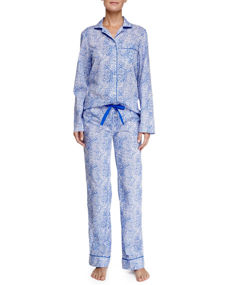 Jamie Animal-Print Cotton Pajamas, Blue/white