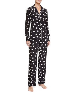 Three J New York Coco Silk Polka-Dot Pajamas, Black/White