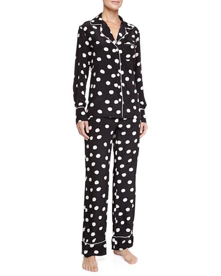 Three J New York Coco Silk Polka-Dot Pajamas, Black/White