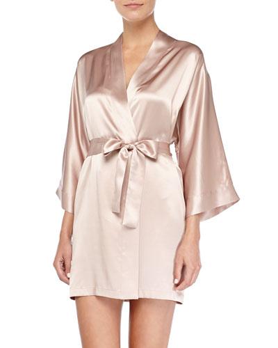Neiman Marcus Silk Satin Short Robe, Brulee