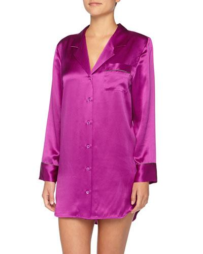 Neiman Marcus Charmeuse Contrast-Trimmed Sleepshirt, Boysenberry