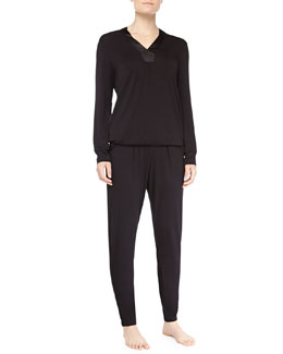 Fleur't Lounge With Me Satin Trimmed Hoodie Pajamas, Black