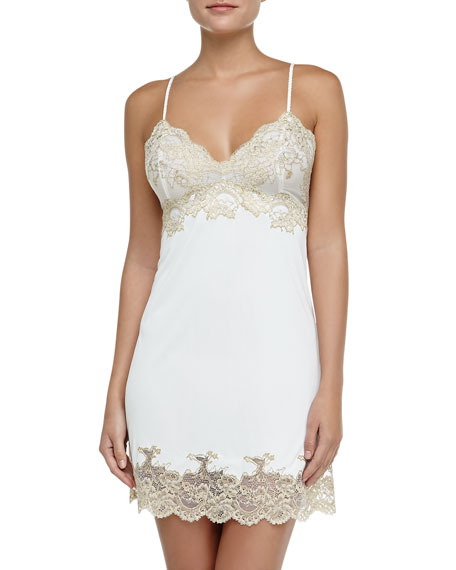 Boudoir Metallic Lace-Trimmed Chemise, Ivory/Gold