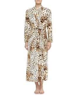Gabon Leopard-Print Jersey Robe, Natural