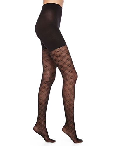 Tight-End Floral-Checked Tights, Black