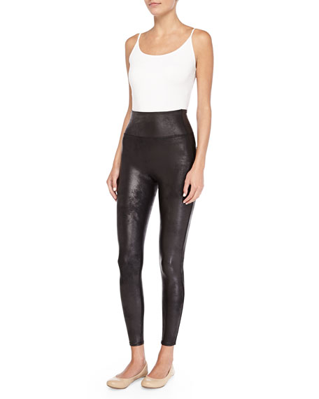 Distressed Faux-Leather Leggings, Black