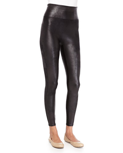 Spanx Distressed Faux-Leather Leggings, Black