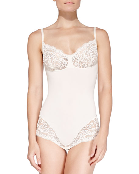 Spanx Lust Have Slimming Lace-Trimmed Teddy, Elegant Pearl