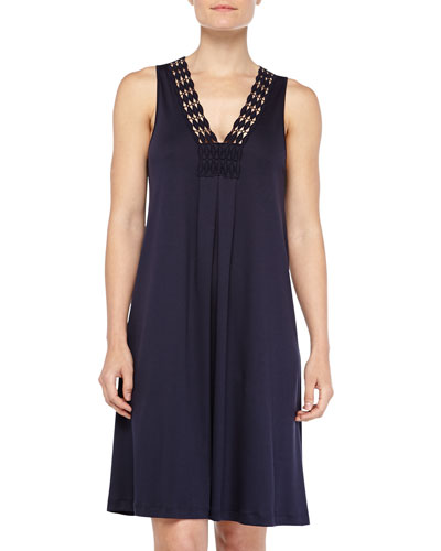 Hanro Brooklyn Guipure Lace-Trim Tank Gown, Ink