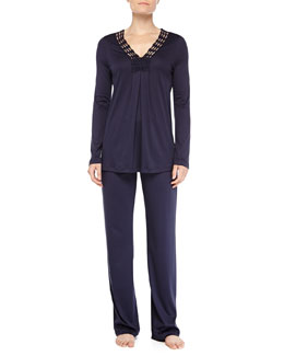 Hanro Brooklyn Guipure Lace-Trimmed Pajama Set, Ink