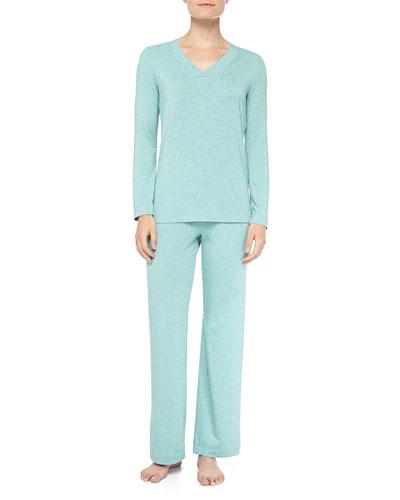 Hanro Champagne Stretch Jersey Pajama Set, Arctic