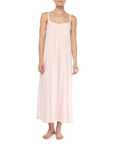 Hanro Juliet Crystal-Pleated Long Chemise, Tender Rose