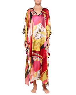 Josie Natori Abstract Geometric-Print Beaded Caftan