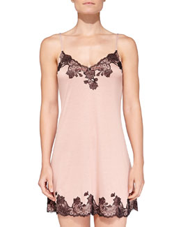 Josie Natori Charlize Floral Lace-Trimmed Chemise, Sweet Blush