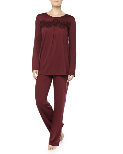 Hanro Cashmere-Blend MOMA Lace-Detailed Pajama Set, Maroon
