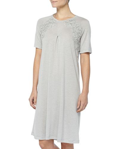 Hanro Cashmere-Blend MOMA Lace-Detailed Gown, Gray Melange