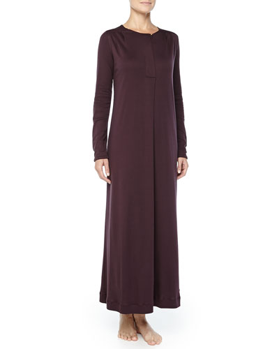 Hanro Bronx Mercerized Cotton Gown, Raisin