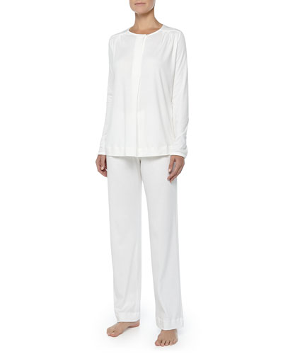 Hanro Bronx Mercerized Cotton Pajama Set, Off White