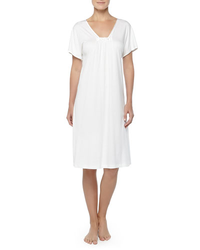 Hanro Central Park Short-Sleeve Satin-Trimmed Short Gown, Off White